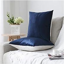 HOMEPLUS Reversible Throw Pillow Covers with Velvet and Linen 2 Pack 17X17 Inch for Sofa, Bedroom Cushion Cover, Velvet, N...