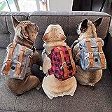 PUEKEO Mochilas de arnés vintage para perro,Bolsa de viaje ajustable para perros,Bolso de hombro para mascotas para cachorros al aire libre,Alforja para perros