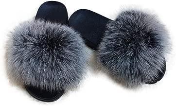 Manka Vesa Women Winter Real Fox Fur Feather Vegan Leather Open Toe Single Strap Slip On Sandals