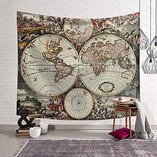 Tapiz de mapa del mundo retro, arte de pared, decoración del hogar, colcha para colgar en la pared, colcha de picnic, esterilla de yoga, toalla de playa