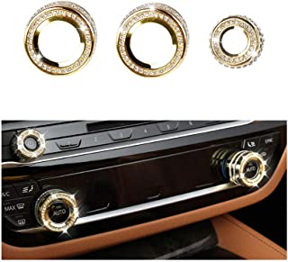 1797 Compatible AC Knob Caps for BMW Accessories Parts Air Conditioning Covers Decal Bling Interior Decorations 5 6 7 Series X3 X5 X6 G31 F13 G12 G01 F15 F16 F26 xDrive AWD Women Men Crystal Gold