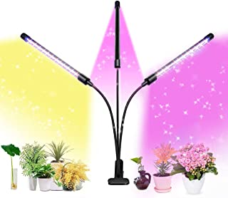 LED Grow Lights for Indoor Plants, 60W Tri Head Timing 66 LED 9 Dimmable Levels, Red Blue White Full Spectrum, Adjustable ...