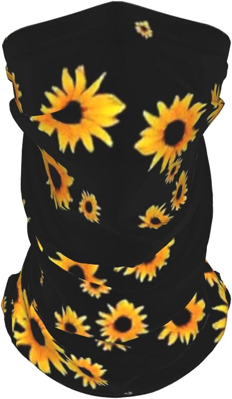 Sunflower Floral Pattern Neck Gaiter Multipurpose Headwear Ice Silk Mask Scarf Summer Cool Breathable Outdoor Sport 2 Pcs
