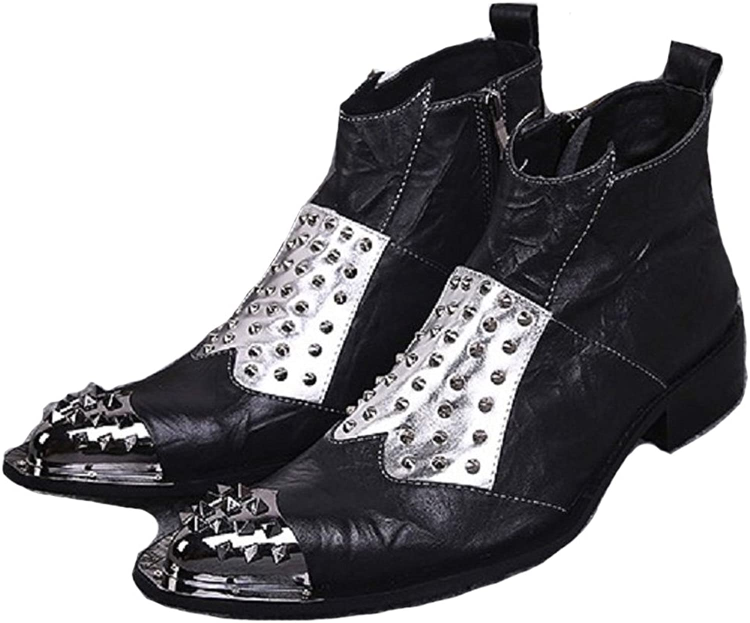 Cover Plus Size 5-12 New Black Studded Genuine Leather Dress Zip Ankle Boots Mens shoes
