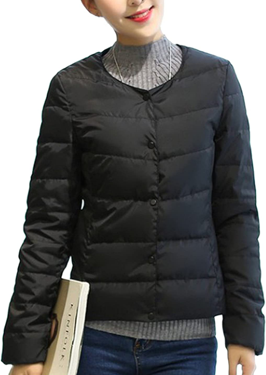 Uaneo Women's Lightweight Packable Puffer Short Quilted Coat Down Parka Jacket