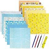 KONUNUS 14 piezas 100% tela de algodón 9.8 x 9.8 pulgadas paquete cuadrados patchwork material para bricolaje costura accesorios hechos a mano serie azul y amarillo