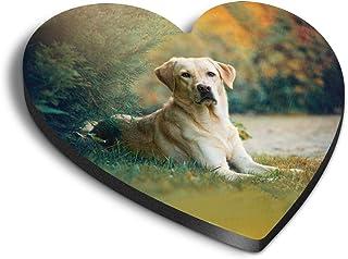 Destination Vinyl ltd Aimants en MDF en forme de cœur - Labrador Retriever - Pour bureau, armoire et tableau blanc - Autoc...