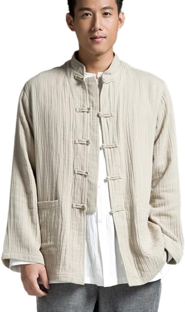 Cheap KATUO Chinese Traditional Men's Casual Meditation O Shirt Blouse 2021new shipping free