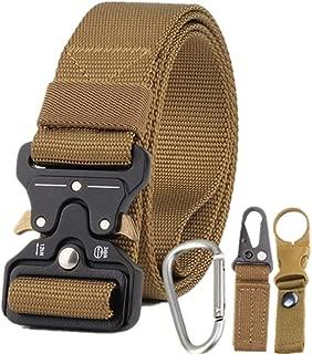 Mens Nylon Canvas Belt Braided Elastic Stretch Woven Belt with Quick Release Buckle (Color : Khaki, Size : 125cm)