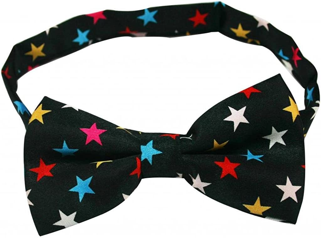No Brand Mens' Polyester Bow Tie Black with Stars Style(Pack Of 2)