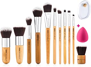 Professional Makeup Brush Set 11 Pieces with Premium Synthetic Hair and Natural Bamboo Handles for Face, Cheeks and Eyes, plus includes a Bonus Complexion Beauty Sponge Blender!