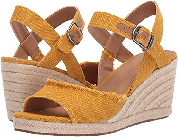 Zlolia Women S Solid Color Wedge Sandals Open Toe Ankle Adjustable Strap Heeled Rubber Sole Espadrilles Upper