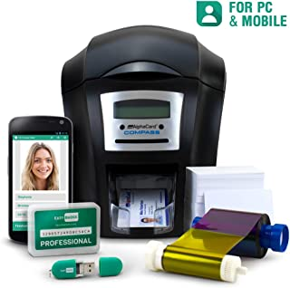 Complete ID Card Printer Bundle: AlphaCard Compass ID Printer, EasyBadge ID Software & Mobile App & ID Supplies (Single-Sided) - 100 Premium Printable Cards