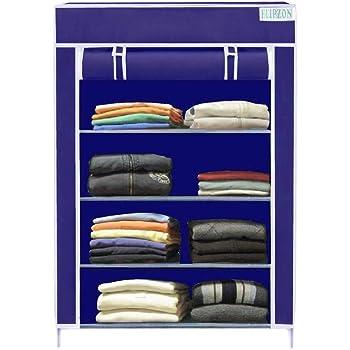 Flipzon Collapsible Wardrobe Organizer, Multipurpose Storage Rack, 4 Layer (Blue)