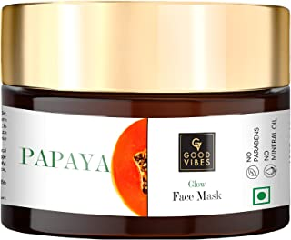 Good Vibes Papaya Glow Face Mask, 50 g Deep Pore Cleansing Moisturizing Face Mask For All Skin Types, Helps Reduce Wrinkle...