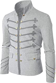 AmyDong Men's Long Sleeve Stand Collar Casual Solid Button Gothic Embroidered Uniform Costume Coat Jacket Outwear