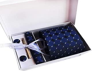 MENDENG Men's Navy Blue Black Plaid Necktie Tie Clip Handkerchief Cufflinks Set