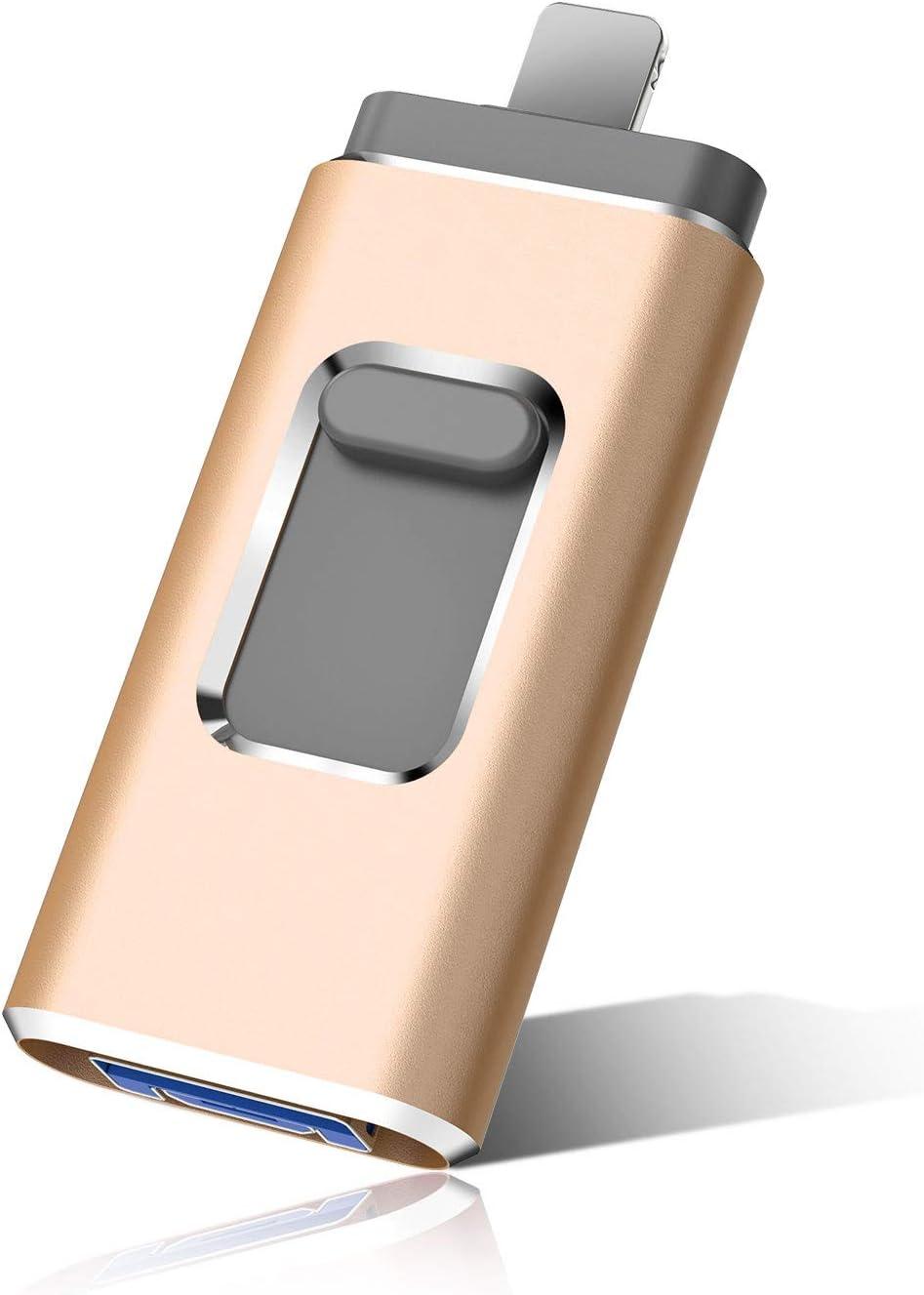 Flash Drive for Phone Photo Stick 1TB Memory Stick USB 3.0 Flash Drive Thumb Drive for Phone and Computers (1TB, Gold)