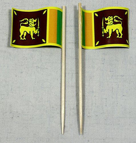 Buddel-Bini Party-Picker Flagge Sri Lanka Papierfähnchen in Profiqualität 50 Stück Beutel Offsetdruck Riesenauswahl aus eigener Herstellung