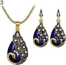 Fashion Jewelry Sets for Women Clearance & 3Pcs Rhinestone Earrings Jewelry Fake Gemstone Peacock Pendant Fashion Necklace