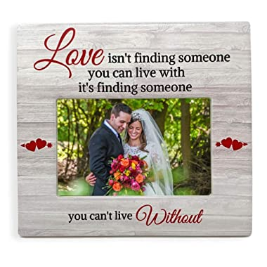 BANBERRY DESIGNS - Love Picture Frame - Someone You Can't Live Without Saying - White Washed Barn Board Like Background - 4 X 6 Photograph - Valentine's Day Picture Frame