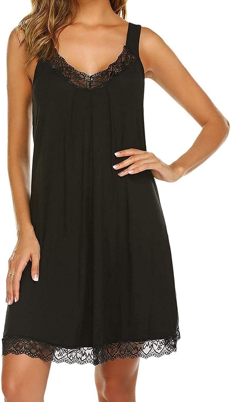 Women's Nightgown Short Sleeve Sleepwear Comfy Sleep Shirt Dress Lace Trim Nightshirt