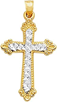 Finejewelers Sterling Silver Black Ceramic Red Swarovski Elements Cross Pendant Necklace Chain Included