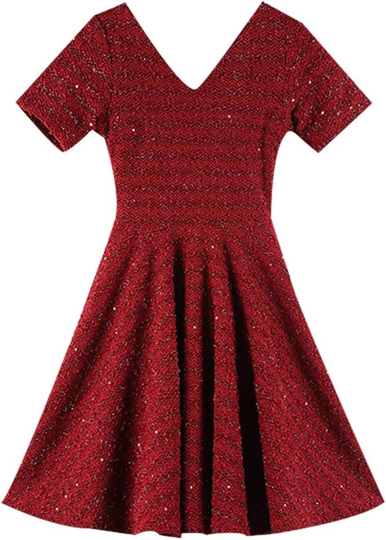 Spring and Summer VNeck Red Dress High Waist Aline Skirt Retro Elegant Feast Dress (color   RED, Size   M)