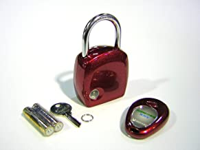 【南京錠】(メタルレッド)雨の日や夜間もリモコンでラクラク開錠 リモートキー