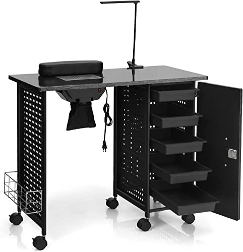 discount Giantex lowest Nail Desk Manicure Table, Nail Table with Dust Collector, Wrist Rest, Clip-On LED Lamp, 5 Drawers wholesale Cabinet with Key, Lockable Casters, Steel Frame Nail Tables for Technician (Pure Black) online sale