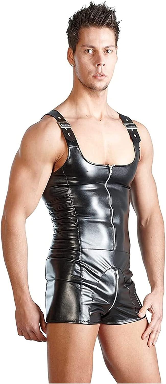 GDYJP Sale price Mens Stretchy 55% OFF Patent Leather Zipper Bodysuit F Sleeveless