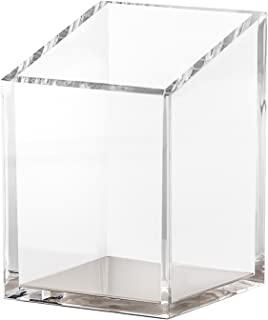 OfficeGoods Acrylic & Silver Pencil and Pen Holder - Beautiful Classic Modern Design to Keep Your Desk at The Office or Home Organized