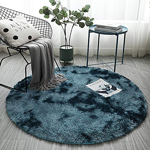 haielook Home Furry Fluffy Rug 80 x 80 cm Round Rug Long Hair Mattress Sofa Cushion Bedroom Bedside Decoration Living Room Rug-100cm in diameter_Navy blue
