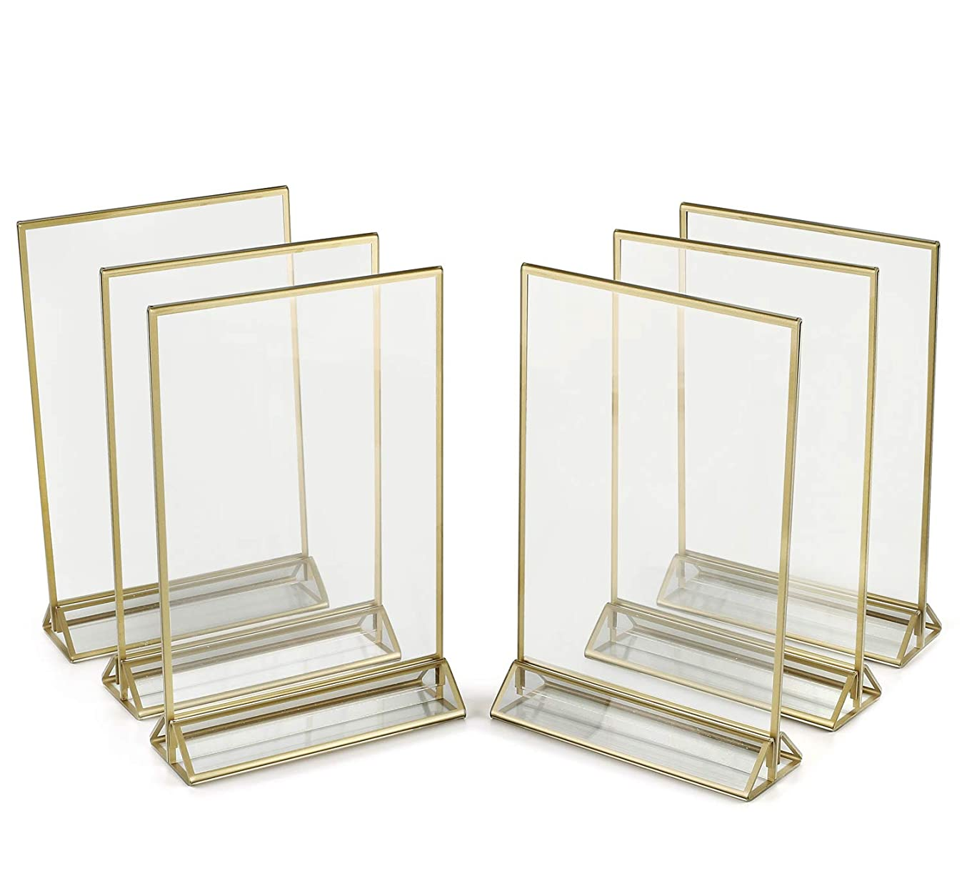 SUPER STAR QUALITY Clear Acrylic 2 Sided Frames With Gold Borders and Vertical Stand (Pack of 6)) | Ideal for Wedding Table Numbers, Double Sided Sign, Clear Photos, Menu Holders