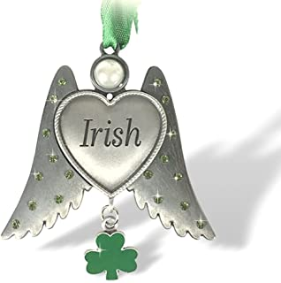 BANBERRY DESIGNS Irish Angel Charm - Irish Ornament with Heart Shaped Angel Wings and an Enameled Shamrock Charm - Car Charm - Irish Blessings