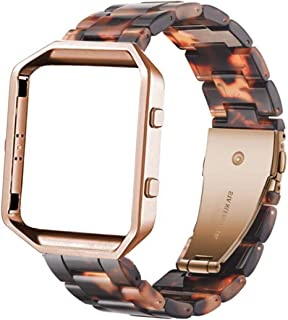 Ayeger Resin Band Compatible with Fitbit Blaze,Women Men Metal Frame Housing+ Resin Accessory Band Wristband Strap Blacelet for Fitbit Blaze Smart Watch Fitness(Tortoise)