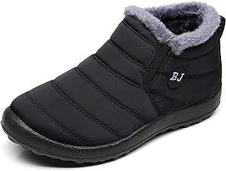 Solacozy Botas de nieve cálidas para mujer con forro de piel para mujer, botas de tobillo de invierno, impermeables, antid...