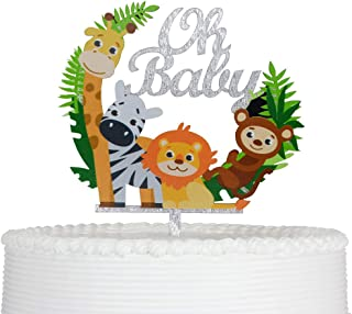 Oh Baby Cartoon Animals Cake Topper Reusable Acrylic for Baby Shower Child Birthday Party Decoration Supplies Silver Glittery