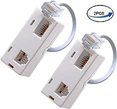 RJ45 Plug to BT RJ11 Secondary Splitter Telephone Adapter, for Ethernet RJ45 Secondary Phone Line (2 Pack) Ted Lele