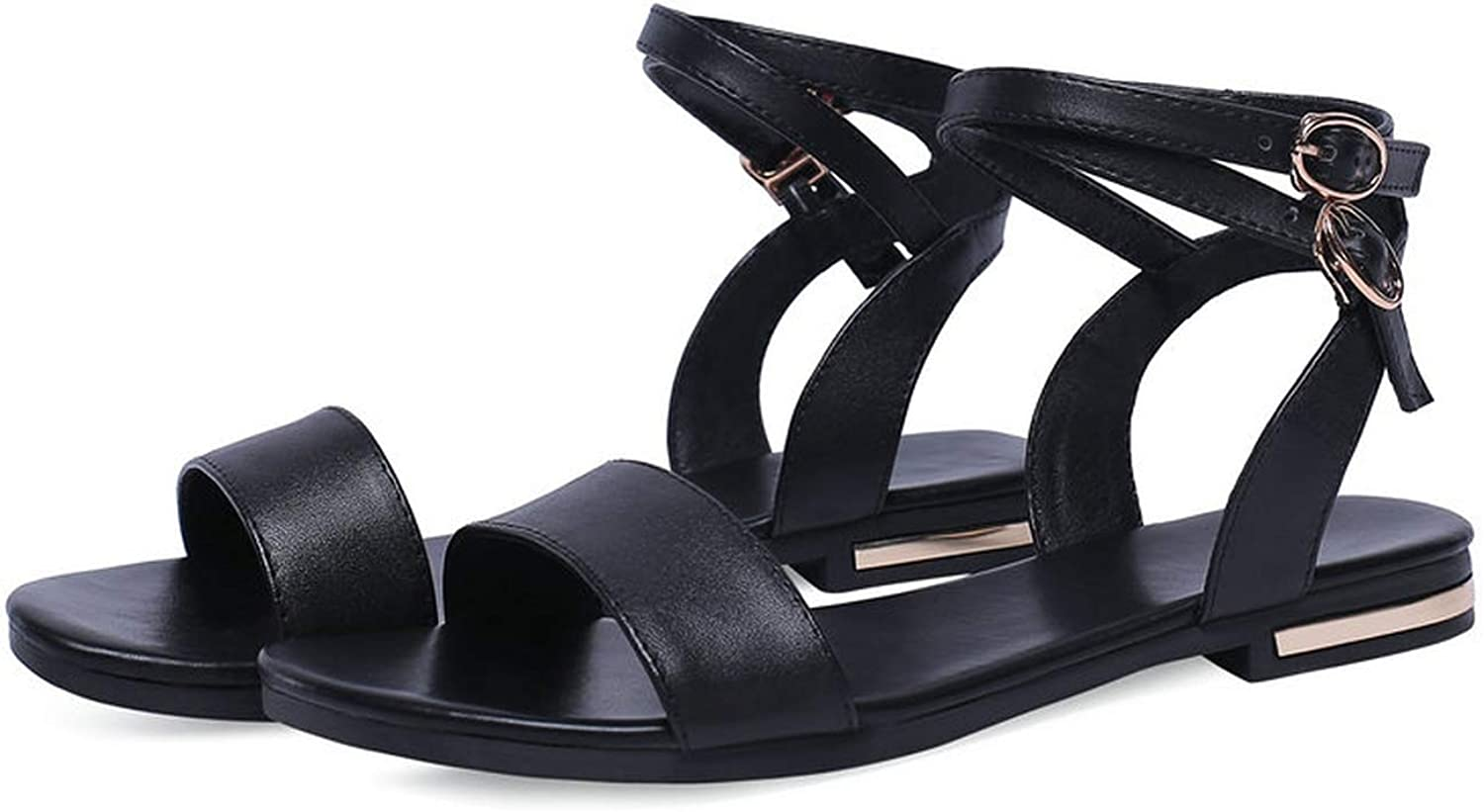 Women Sandals Square Low Heel Champagne PU Leather,