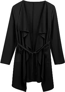 Women's Long Sleeve Open Front Waterfall Draped Trench Coat Cardigan