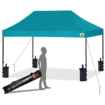 Amazon Com Abccanopy Pop Up Canopy Tent Commercial Instant Shelter With Wheeled Carry Bag Bonus 4 Canopy Sand Bags 10x15 Ft Turquoise Garden Outdoor