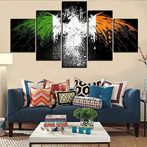 Top canvas poster 5 stks Ierse vlag foto woondecoratie abstract schilderij frameloze schilderij 20x30cmx2 20x40cmx2 20x50cmx1
