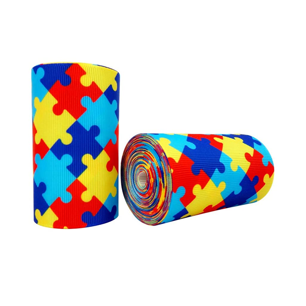 5 Yards Autism Awareness Puzzle Printed 3 Inch Grosgrain Ribbon Hairbows Craft Supplies