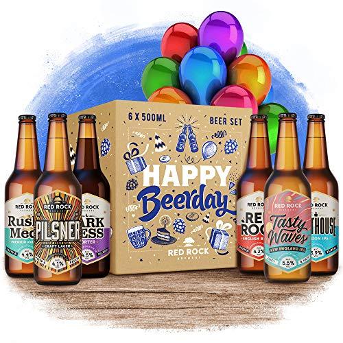 Red Rock Brewery Happy Birthday Beer Selection Box – 6 Bottles of British Beer in Gift Packaging