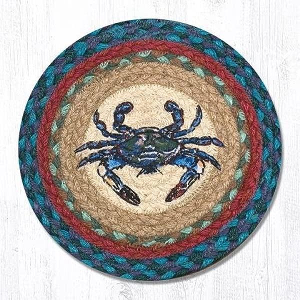 10 X10 Blue Tan Red Crab Round Trivet