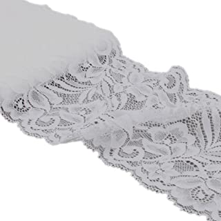 5 Yards Floral Lace Ribbon Stretch Tulle Lace Trim Elastic Webbing Fabric for DIY Jewelry Making Craft Clothes Accessories Gift Wrapping Wedding Party Decoration (White)