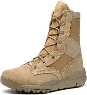 Bin Zhang Combat Boot for Men High Top Boots Lace Up Genuine Leather&Canvas Lug Sole Outdoor Hiking Shoes Fleece Lined Cushioning Breathable (Color : Sand, Size : 9 UK)