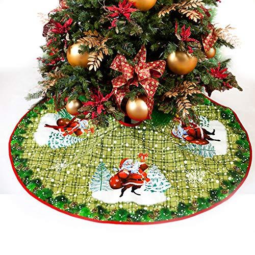 Weihnachtsbaum Rock Weihnachtsbaumdecke Baumdecke Base Cover Rund Ø 90cm für Weihnachtsdeko (Hirsch Muster)