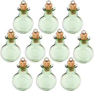 Tinksky Mini Tiny Green Glass Cork Bottles Round Flat Vial Wishing Bottle DIY Pendants for DIY, Arts Crafts, Projects, Home Decoration, Birthday Gift, Party Favors, Pack of 10